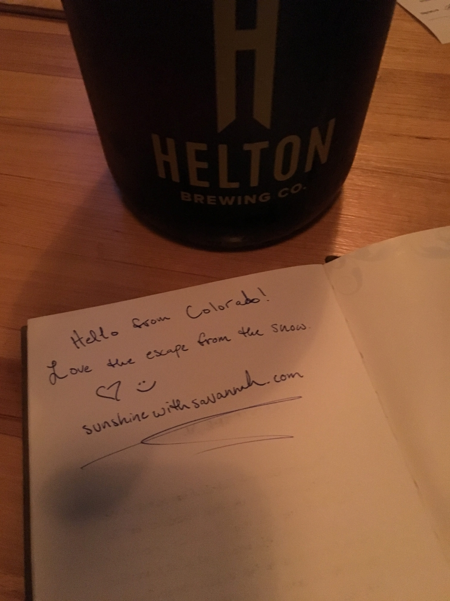 We left a note in Helton's guest book.